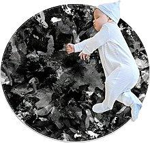 Area Tappeto Tappeto Rotondo Astratto nero grigio