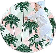 Area Tappeto Tappeto Rotondo Palma verde per