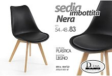 Argonauta - Sedia moderna soggiorno studio nera