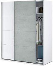 Armadio 150x200H cm Bianco opaco e cemento 2 ante