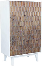 armadio a due ante con decoro in legno di design