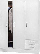 Armadio Bianco Camera a 3 Ante 2 Cassetti Cabina