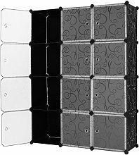 Armadio Mobiletto modulare Quadrato Nero con 12