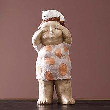 Artigianato Scultura Statua Fat Girl casa for