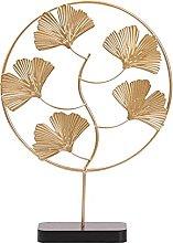 Artigianato Scultura Statua Ginkgo di ferro foglie