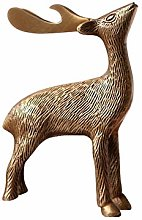 Artigianato Scultura Statua Ottone Deer Statue