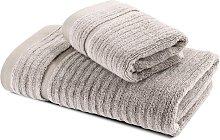 Asciugamano con Ospite in Cotone Stripe Naturale