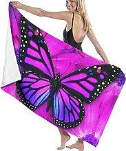 asdew987 Farfalla E Fiore Viola Telo Da Spiaggia