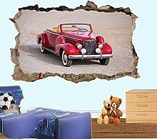 Auto Vintage Adesivo Murale Smashed Effetto Stanza
