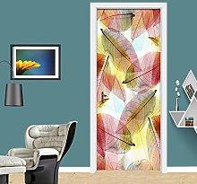 Azbza Foglie Colorate Astratte Adesivi Per Porte