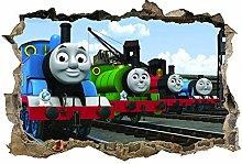 Bambini, adesivo, treni, decalcomania, arte della