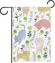 Bandiera da giardino 12x18 pollici,gatto ,Bandiera