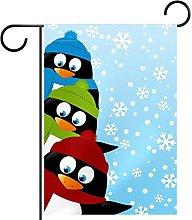 Bandiera da giardino 12x18 pollici,pinguini