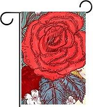 Bandiera da giardino 12x18 pollici,rosa ,Bandiera