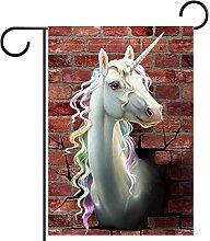 Bandiera da giardino 28x40 pollici,unicorno