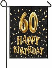 Bandiera da Giardino 30×45cm,Buon compleanno 60