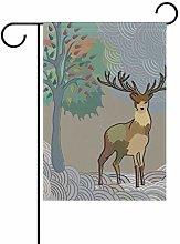 Bandiera da Giardino 30×45cm,Cervo nel bosco