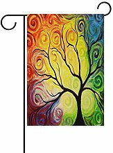 Bandiera da Giardino 70×102cm,Arcobaleno albero