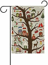 Bandiera da Giardino 70×102cm,Gufi Albero Natale