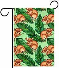 Bandiera da giardino a forma di scimmia e foglie,
