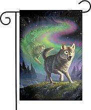 Bandiera da giardino Aurora Rainbow Wolf House