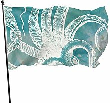 Bandiera da giardino bianca polpo foglia di tè