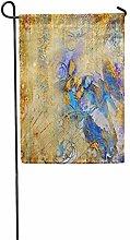 Bandiera da Giardino Blu Oro Artistico Farfalle