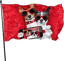 Bandiera da giardino con due cani con rose e