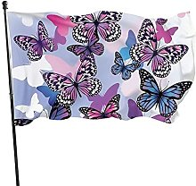Bandiera da giardino con farfalle viola, blu, 1,5