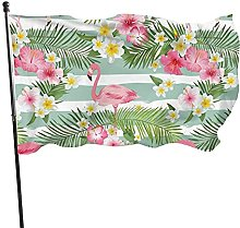 Bandiera da giardino con fenicottero con foglie