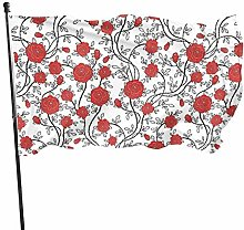 Bandiera da giardino, con fiori rossi, resistente,