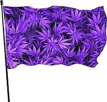 Bandiera da giardino con foglie di cannabis viola,