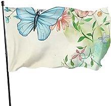 Bandiera da giardino con rose e farfalle di