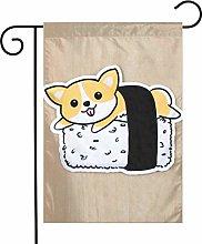 Bandiera da giardino Corgi Disegno Sushi House