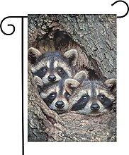 Bandiera da giardino Cute Baby Raccoon House Yard