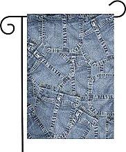 Bandiera da giardino Denim Materiale Patchwork