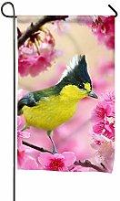 Bandiera da Giardino, Fiore Rosa Uccello Giallo,