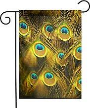 Bandiera da giardino Oro Argento Piuma di pavone