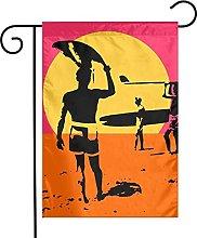 Bandiera da giardino Summer Surfing Silhouette