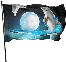 Bandiera del giardino bella luna delfini bandiere