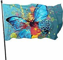 Bandiera del giardino farfalla blu con bandiere