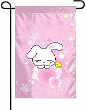 Bandiera Giardino Sfondo Rosa Bunny 1 Bandiera