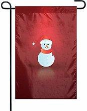 Bandiera Giardino Sfondo Rosso Pupazzo di Neve