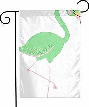 Bandiere da giardino con fenicottero verde per
