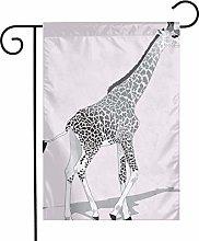 Bandiere da giardino in bianco e nero con giraffa