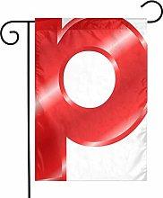Bandiere rosse da giardino con lettera P per