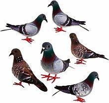 Baoblaze 6 Pz Piccioni Piumati Artificiali Uccelli