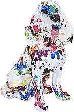 Baoblaze Colorato dipinto cane statua resina cane