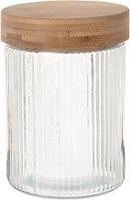 Barattolo in vetro striato con coperchio in bambù