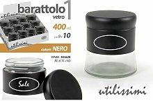 BARATTOLO VETRO ML.400 CM.9X10h NERO